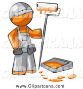 Clip Art of a Painter Orange Man with a Paint Pan and Roller by Leo Blanchette