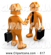 Clip Art of a Pair of 3D Orange Businessmen with House Heads, Carrying Briefcases and Shaking Hands, Symbolizing Selling or Buying Homes by 3poD