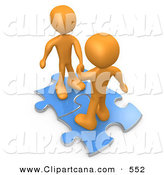 May 2nd, 2013: Clip Art of a Pair of Mature Orange People on Blue Puzzle Pieces, Engaging in a Handshake upon a Deal, Symbolizing Link Exchange and Teamwork by 3poD