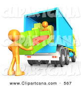 Clip Art of a Pair of Orange Male Figures Lifting and Loading a Green and Orange Living Room Couch into a Blue Moving Truck, Symbolizing Teamwork by 3poD