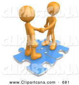 Clip Art of a Pair of Orange People Shaking Hands While Standing on Connected Blue Puzzle Pieces, Symbolizing Teamwork, Deals, and Link Exchanges for Seo Website Marketing by 3poD