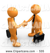 Clip Art of a Pair of Orange People with Briefcases, Engaged in a Handshake by 3poD