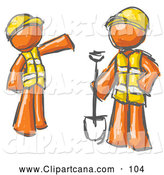 Clip Art of a Pair of Painted Orange Men in Hardhats and Vests Working with a Shovel at a Construction Site by Leo Blanchette