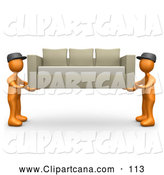 Clip Art of a Pair of Two Orange Male Figures Lifting and Carrying Away a Tan Couch While Moving or Delivering by 3poD
