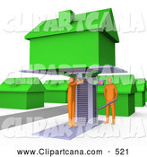 Clip Art of a Pair Orange Men Jacking up a Home on a Lift and Doing Repairs Before a Family Moves in by 3poD
