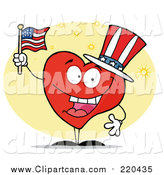 Clip Art of a Patriotic American Heart Character by Hit Toon