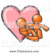 Clip Art of a Pink Heart and Cuddling Orange Couple by Leo Blanchette