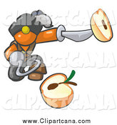 Clip Art of a Pirate Orange Man Holding a Sliced Apple on a Sword by Leo Blanchette