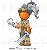 Clip Art of a Pirate Orange Man with a Hook Hand and a Sword by Leo Blanchette