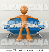 Clip Art of a Relaxed Orange Male Figure Sitting with His Arms out on the Back of a Modern Blue SofaRelaxed Orange Male Figure Sitting with His Arms out on the Back of a Modern Blue Sofa by 3poD