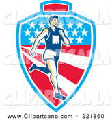 Clip Art of a Retro White Male Marathon Runner over a Mountain American Stars and Stripes Shield by Patrimonio