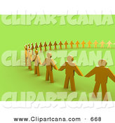 Clip Art of a Ring of Golden People Standing Side by Side and Holding Hands by 3poD
