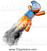 Clip Art of a Rocketeer Orange Man Flying with a Jetpack by Leo Blanchette