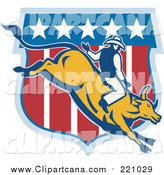 Clip Art of a Rodeo Cowboy Riding a Bull Logo by Patrimonio