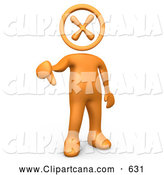 Clip Art of a Rude Orange Person with an X Head, Giving the Thumbs down by 3poD