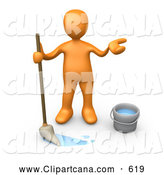 Clip Art of a Sad Miserable Orange Person Mopping a Dirty Floor and Shrugging by 3poD