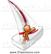 Clip Art of a Sailling Orange Man Waving on a Boat by Leo Blanchette