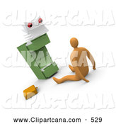 Clip Art of a Scared Businessman on the Floor, Being Stared at by a Paperwork Monster from a Filing Cabinet by 3poD