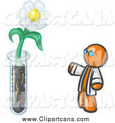 Clip Art of a Scientist by a Daisy Flower in a Test Tube by Leo Blanchette