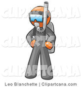 Clip Art of a Scuba Diver Orange Man by Leo Blanchette