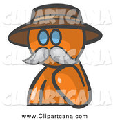 Clip Art of a Senior Orange Man Avatar Professor with a Mustache by Leo Blanchette