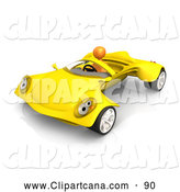 Clip Art of a Shiny Orange Person Driving a Futuristic Yellow Convertible Car by 3poD