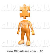 Clip Art of a Shiny Orange Person Standing with a Puzzle Piece As a Head, Symbolizing Creativity by 3poD
