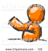 Clip Art of a Shiny Painted Orange Man Leaning an Elbow on a Table and Gesturing with One Hand During a Meeting by Leo Blanchette
