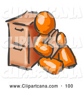 Clip Art of a Shiny Painted Orange Man Sitting by a Filing Cabinet and Holding a Folder by Leo Blanchette
