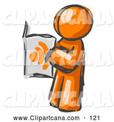 Clip Art of a Shiny Painted Orange Man Standing and Reading an RSS Magazine by Leo Blanchette