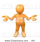 Clip Art of a Shrugging Orange Person Gesturing in Uncertainty and Asking What They Should Do to Solve a Problem by 3poD