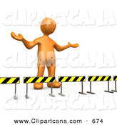 Clip Art of a Shrugging Orange Person Stuck Behind Caution Signs, Not Sure Where to Go by 3poD
