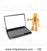 Clip Art of a Simple Orange Businessman with a Black Tie, Gesturing Towards a Large Black Laptop Computer with a Blank Screen by 3poD