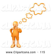 Clip Art of a Simple Orange Person Rubbing His Chin While Thinking Creative Thoughts, with Four Bubbles by 3poD
