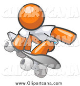 Clip Art of a Skateboarding Orange Man by Leo Blanchette