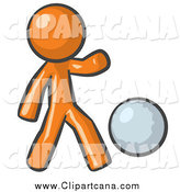 Clip Art of a Sporty Orange Man Kicking a White Ball by Leo Blanchette