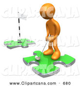 Clip Art of a Sporty Orange Man Standing on a Green Puzzle Piece, Teeing off and Aiming for a Hole on Another Piece, Symbolizing Goals by 3poD