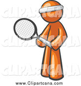 Clip Art of a Sporty Orange Man Tennis Player by Leo Blanchette