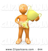 Clip Art of a Sporty Orange Person Proudly Holding His Golden Trophy by 3poD