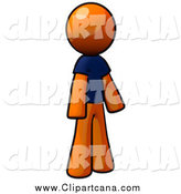 Clip Art of a Standing Orange Man in a Blue T Shirt by Leo Blanchette