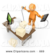 Clip Art of a Stressed out Busy Orange Employee Staring at Their Crowded Desk Topped with Stacks of Paperwork, Trying to Figure out Where They Can Put Their Computer Keyboard by 3poD
