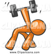 Clip Art of a Strong Orange Man Working out with a Dumbbell by Leo Blanchette