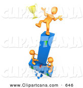 Clip Art of a Successful Orange Athlete Person Slipping and Dropping His Golden Trophy Cup While the Two Runners up Try to Hack down the First Place Podium in Revenge by 3poD