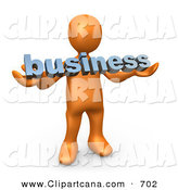 Clip Art of a Successful Orange Person Holding a Blue Business Sign by 3poD