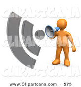 Clip Art of a Successful Orange Person Holding and Speaking Through a Megaphone with Sound Waves Resembing an RSS Symbol by 3poD