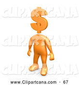 Clip Art of a Successful Orange Person Standing with a Dollar Sign As a Head by 3poD
