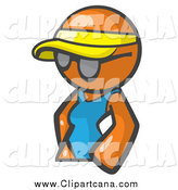 Clip Art of a Summer Orange Woman Avatar Wearing a Visor and Shades by Leo Blanchette
