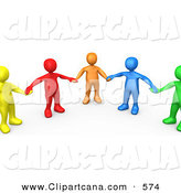 Clip Art of a Support Group of Five Colorful and Diverse People Holding Hands and Standing in a Circle by 3poD