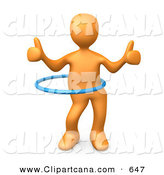 Clip Art of a Talented Orange Person Giving Two Thumbs up While Swinging Their Hips with a Hula Hoop During a Competition by 3poD