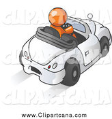 Clip Art of a Talkative Orange Man Driving a Convertible Car and Using a Cell Phone by Leo Blanchette